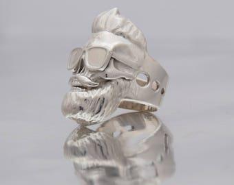 Mens Skull Ring, Sterling Silver Ring, Hell Angels Ring, Gothic Skull Ring, Silver Skull Ring, Easy Rider Ring, Gang Silver Ring, Man Ring