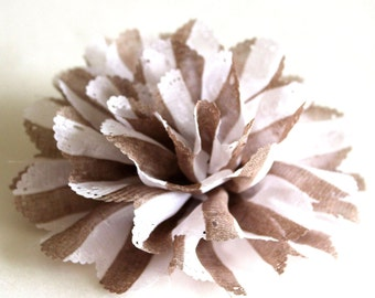 White and brown stripe fabric flower brooch