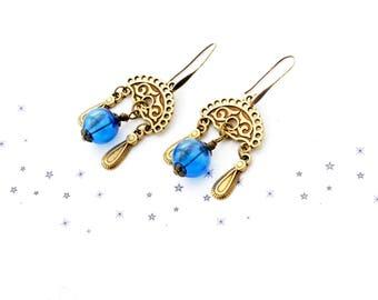 bronze blue bubble Lampwork Glass bead earrings