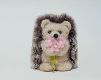 Needle Felted Hedgehog - Holding Flowers
