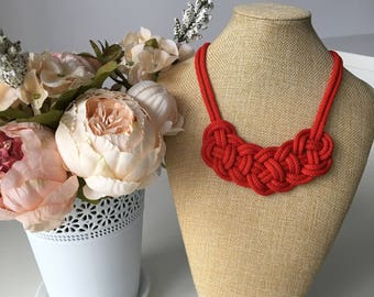 Red statement necklace- Tribal necklace- Knot Necklace- Bib necklace- Nautical necklace- Christmas necklace- Valentines day gift for her