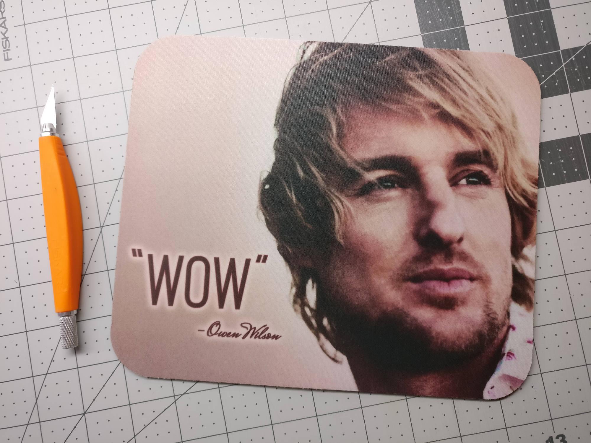 wow meme owen wilson mouse pad mousepad neoprene memes
