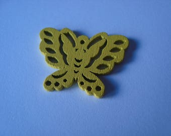 Yellow wooden Butterfly charm