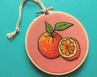 Oranges on Coral Hand Embroidered Hoop Art