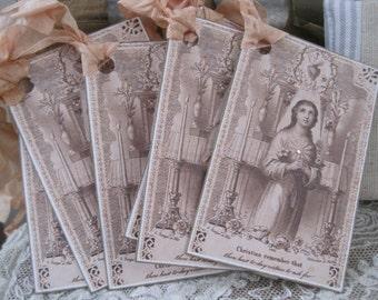 french flea market religious tags set of 6