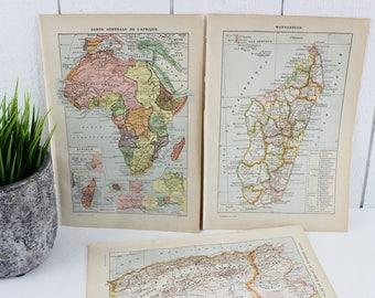 Cartes Vintage Poster, Afrique carte Vintage, impression cartes d'Art, carte Illustration, impression Dictionnaire Français, Afrique, Tunisie, Algérie, Madagascar