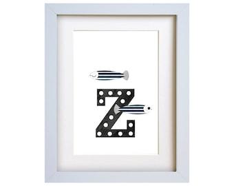 Z is for Zebra Fish - letter art print