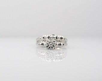 Vintage Illusion Set Diamond Engagement Ring Wedding Band Bridal 14k White Gold