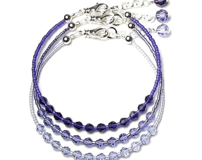 Purple Velvet Tanzanite Provence Lavender Swarovski Crystal Silver Beaded Bracelet Set Ombre Jewelry Adjustable Size Gifts for Purple Lovers