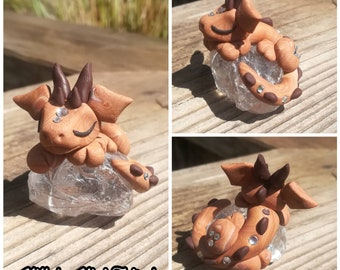 Baby Crystal Dragon, cute handmade figure from Fimo