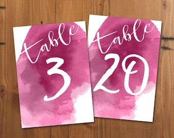 Fuschia Watercolor Table Numbers, Printable Table Numbers, 5x7 Pink Wedding Table Numbers