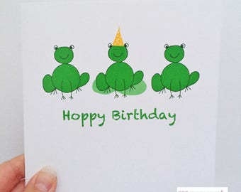 SOLD OUT Birthday card frogs - Frog Birthday card - Hoppy Birthday frogs - Kids birthday card - fubby birthday card - frog card - frogs