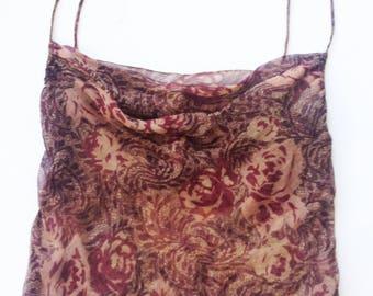 Silk Chiffon Bias Cut Burgundy Rose Printed Camisole