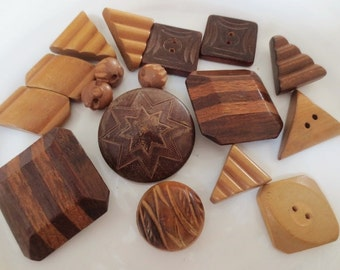 Vintage Wood Buttons Lot Large Shank 2 Hole Brown Neutral Mix  (17)