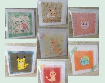 Cute Chibi Pokemon Greeting Cards - Pikachu - Bulbasaur - Squirtle - Eevee - Jigglypuff - Dragonite - Charmander