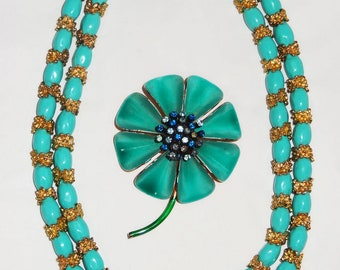 Vintage  Necklace and Brooch Pin, goldtone and aqua, glass beads metal and rhinestones