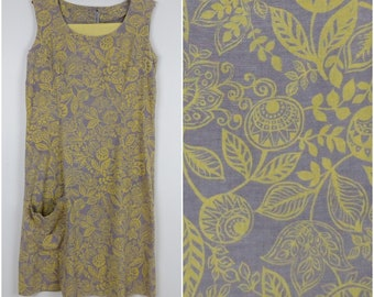 1960s Botanical Shift Dress - Vintage Day Dress - Bust 36 (B8)