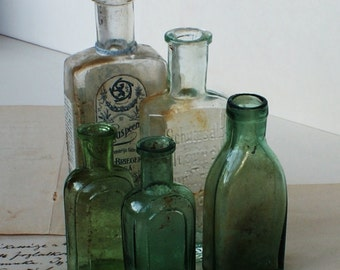 Antique Russian/German/Latvian Vintage Glass - Craft Supply - Specimen Bottles - Medium and Small - 1920's