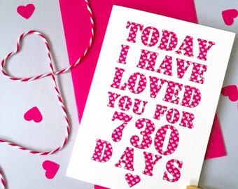 Days I've Loved You Card – Personalised Anniversary Card – Card for Husband wife –birthday card for husband wife –Christmas card for partner