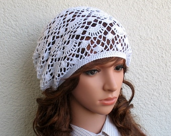 Womens Crochet Summer boho cotton light white hat slouchy hat Summer beret hat cotton tams hat Women's Summer hat Women's Slouchy Tam Hat