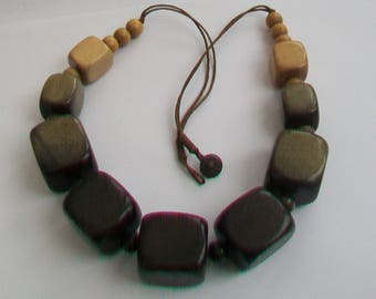 Enormous Chunky Wooden Cube Bead Statement Necklace