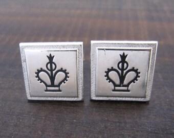Kings and Queens Crown Cufflinks, Vintage Swank Kings Crown Formal Wedding Cuff Links, Silver Metal Mens Jewelry