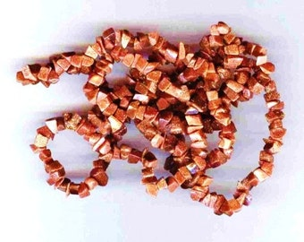 "Dazzling Genuine Goldstone Chip Beads Full 34"""