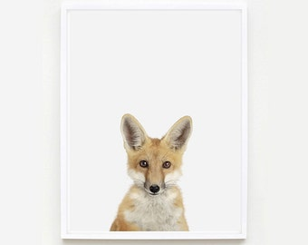 Baby Animal Nursery Art Print. Baby Fox Little Darling. Baby Animal Print. Baby Animal Wall Art. Animal Nursery Decor. Baby Animal Photo.