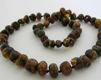 Baltic Amber Adult Necklace - Natural Green Color