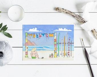 Beach bum surfer girl greeting card - Australian surf Card - A6 watercolour print