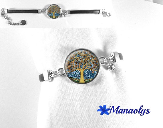 Klimt tree of life bracelet, bracelet, bracelet cabochon art painter 512