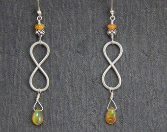 Infinity symbol earrings, sterling silver, fire opal, orange opal, handmade findings, rare opal, metalwork, fire opal