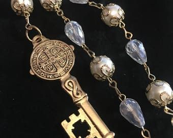 Saint Benedict Rosary Car Chaplet Pearl style Beads Gold Accents Catholic Gift St. Benedict of Nursa