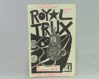 Royal Trux original flyer - Vintage 1990s Concert Flyer - punk, post-punk  - Ann Arbor 1990