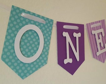 Aqua & Purple High Chair Banner, Happy Birthday, I Am One Banner, I Am Two Banner