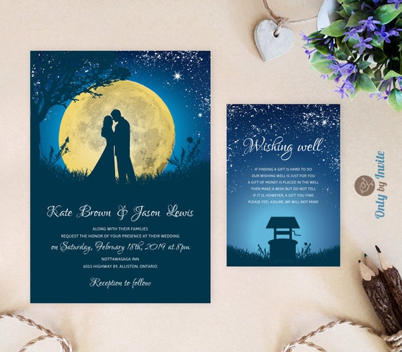 Amazing Starry Night Wedding Invitations And Wishing Well Card Moon
