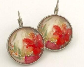 Red Flower Earrings, Flower Earrings, Red Earrings, Red Floral Earrings, Romantic Earrings, Red Flower, Red, Earrings, Flower Jewelry, Gift