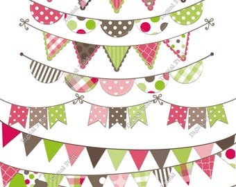 Pink, Green & Brown Bunting Clip Art Set - printable digital clipart - instant download