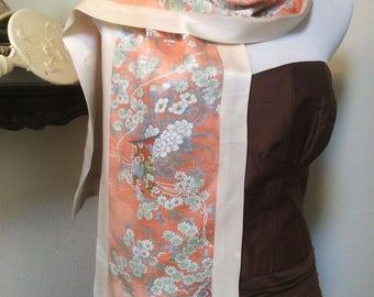 Vintage Japanese Kimono Peachy Garden with Double Cranes reversible scarf