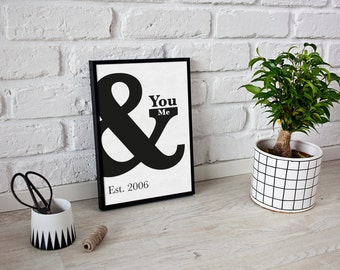 Valentine's gift personalized - First Anniversary Print - paper anniversary - You & Me typography print - letter print - typography print
