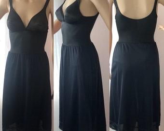 Olga Lingerie 34B Style 392 Black Full Slip Wire Free / A Line / No Seam Body Silk Vintage Nylon