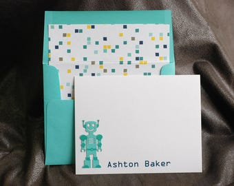 Personalized Robot Stationery, Set of 20, Boy's Stationery, Custom Stationery, Blue and White Stationery, Children's Thank-You Note