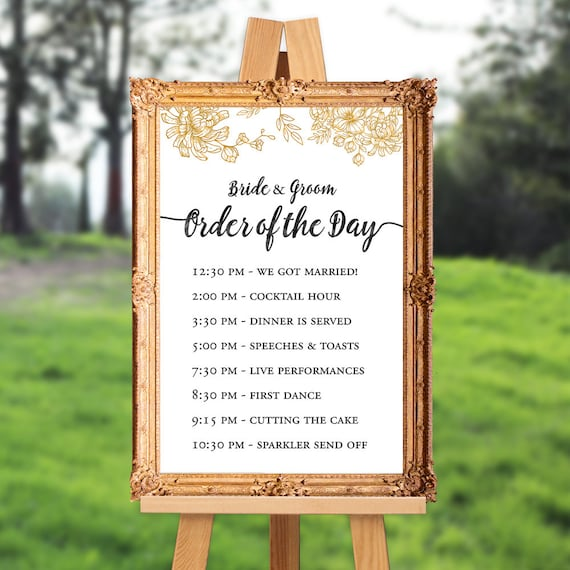 Wedding Order Of Events: Order Of The Day Wedding Sign Order Of Events Sign Wedding