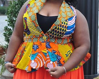 African Print Patchwork Vest ( Plus size)