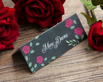 Personalised CHALKBOARD ROSE place cards