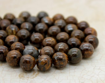 Bronzite Smooth Round Gemstone Beads (6mm 8mm 10mm)