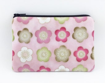 Flower Coin Purse - Pink Zipper Pouch - Wallet Pouch - Change Purse - Accessory Bag - Gift ideas - Padded Pouch - Zip Pouch