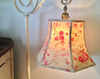 India block print bridge lampshade uno threaded lamp shade french floral bridge lamp shade lampshade threaded fitter for standing lamp shabby chic vintage aloadofball Image collections