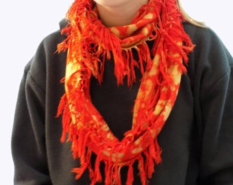 Bright red scarf, upcycled scarf, neckwear, infinity scarf, hand dyed scarf, soft cotton scarf, tasselled spring scarf, essential, Gift