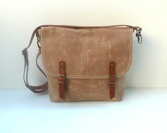 Tan WAXED Canvas Messenger Bag Single Cotton Strap Shoulder bag / Cross Body Messenger